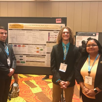 Solvent Recovery Team (Jake Stengel, Austin Lehr, and Dr. Kirti M. Yenkie) at AIChE 2019